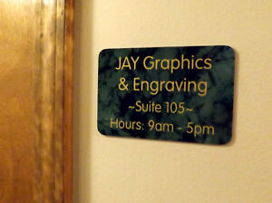 Custom Engraved Marble Green 4x6 Office Suite Sign Small Business Wall Plaque