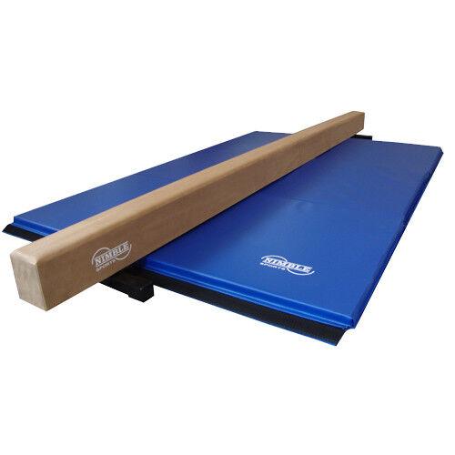 Nimble Sports 8ft Long Tan Balance Beam With Blue Folding Gymnastics Mat 4ftx6ft