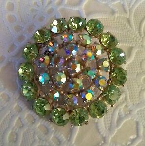 Vintage-Pot-Metal-amp-Paste-Green-amp-AB-Glass-Rhinestone-Pin-Brooch-1-5-034-Pretty