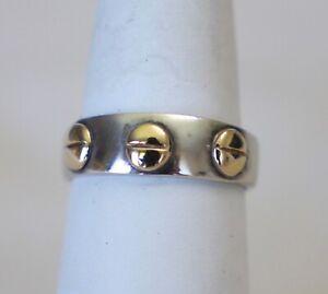 925-Silver-and-14K-Black-Hills-Gold-Ring-Rivets-Design-Size-7-75