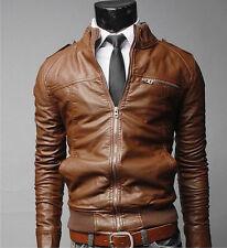 US Seller Slim Fit Mens Fashion Motorcycle Racer Leather Bomber Jacket  PK38
