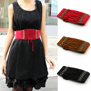 ed122376ca Women s Elastic Leather Wide Corset Dress Cinch Lace-up Tie Waist ...