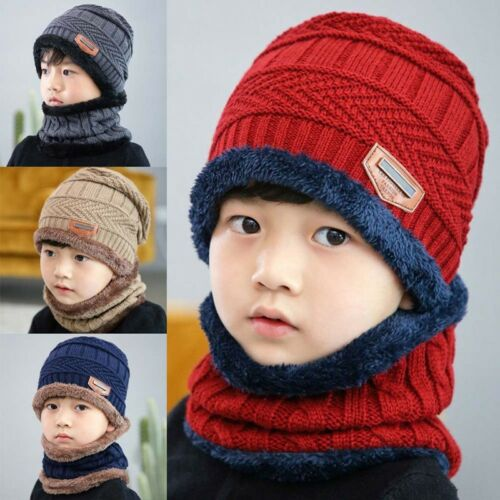 NEW Warm Kids Winter Knitted Hat And Scarf For 3-12 Years Old Girl-Boy Nice
