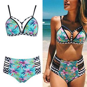75c8ca9616 Femmes Bikini à taille haute Maillot de bain Rembourré Plage ...