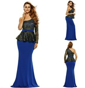 Sz-12-14-One-Shoulder-Peplum-Blue-Lace-Floral-Formal-Cocktail-Evening-MaxiDress