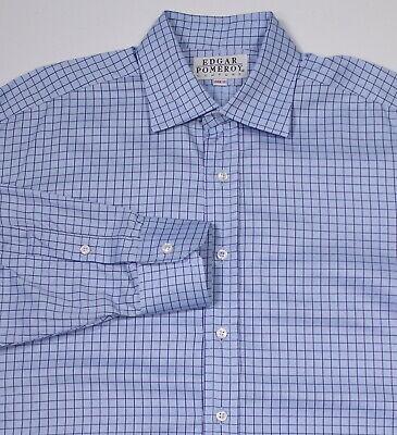 Clothing, Shoes & Accessories Edgar Pomeroy Recenti Su Misura Blu Cielo A Scacchi Camicia 16-35 High Standard In Quality And Hygiene