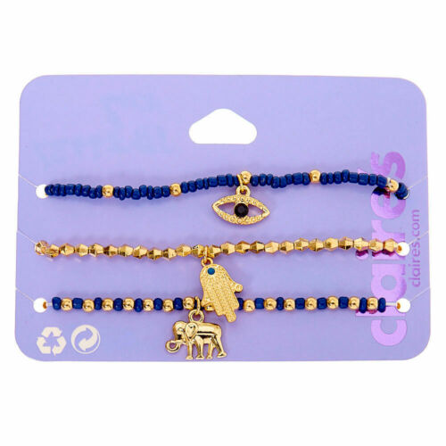 Claire/'s Girl/'s Gold Mystic Bead Stretch Bracelets Navy 3 Pack Blue