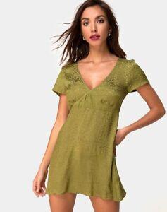 MOTEL-ROCKS-Elara-Dress-in-Satin-Cheetah-Khaki-Size-Medium-M-mr74