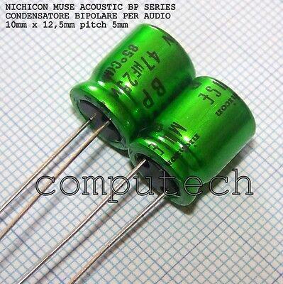 2 pezzi Condensatore bipolare per audio 22uF 50V NICHICON BP MUSE ACOUSTIC