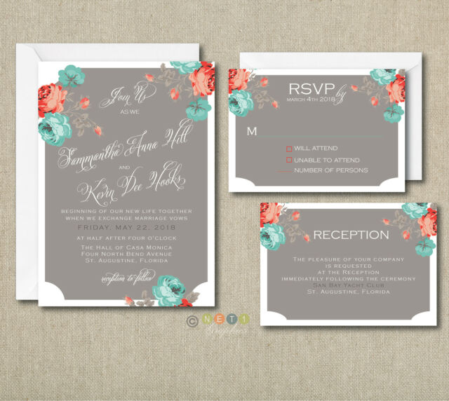 150 Personalized Floral Rustic Wedding Invitations Set With Envelopes