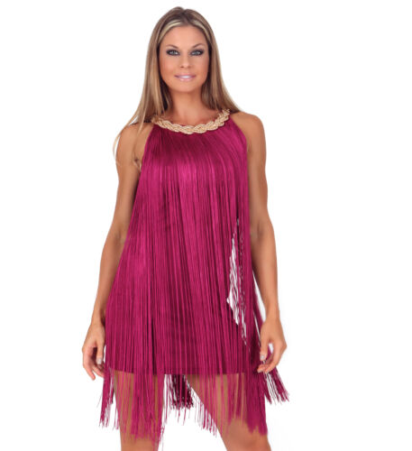 InstantFigure Short Fringe Dress w// Beaded Neckline