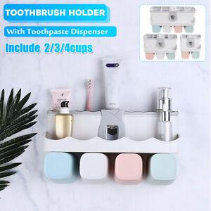 2-3-4-Cups-Toothbrush-Bathroom-Toothpaste-Dispenser-Holder-Shower-Shelf-Storage