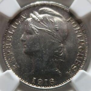 PORTUGAL-20-centavos-1916-NGC-MS-63-UNC