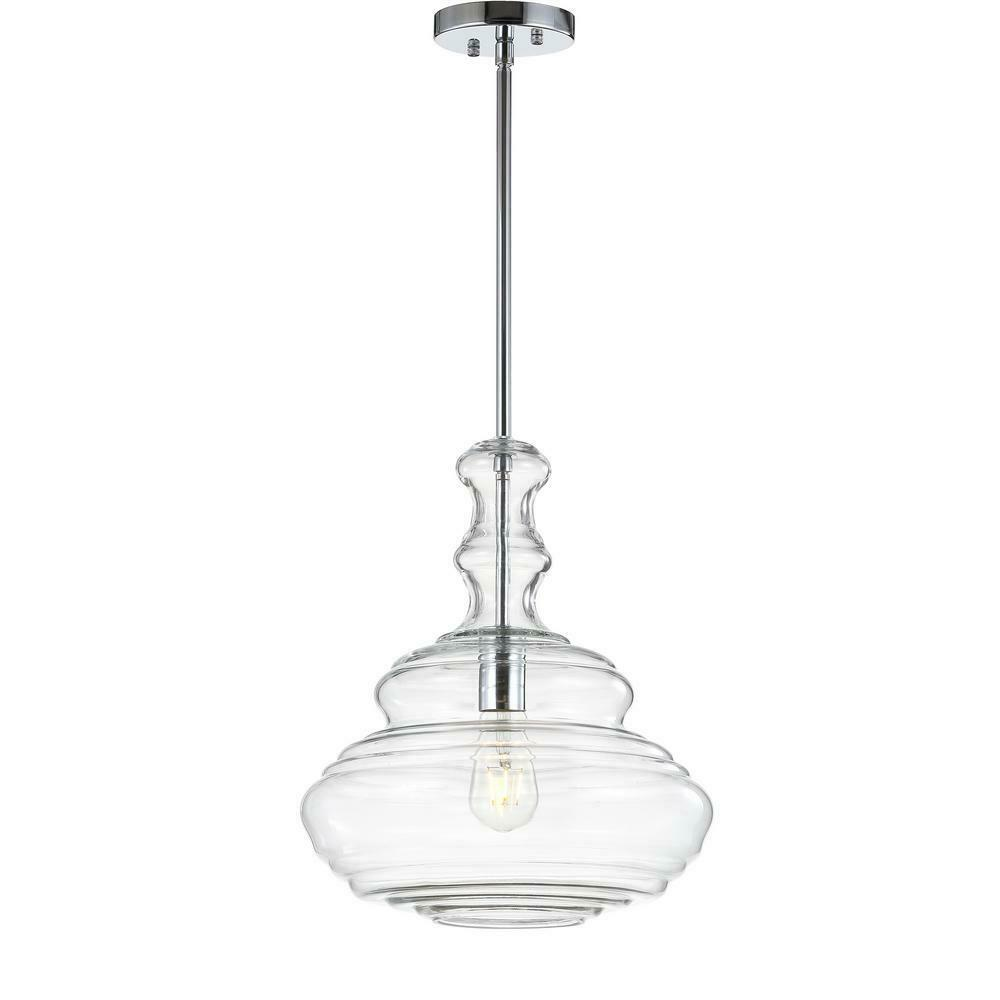 JONATHAN Y Bettina 13.37 in. 1-Light Chrome Clear Glass Metal LED Pendant