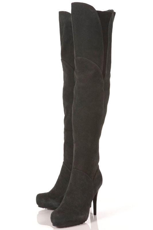 Nuovo con scatola TOPSHOP BUNNY  coscia stivali di pelle alta Regno Unito 3 in nero  il più alla moda
