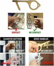 AMAZING UNIVERSE 2 Pcs Door Opener Hygiene hand Tool /& Button Pusher Brass No Touch Hands Free Germ Keychain Utility Hook Tool Key No Touch Tool for Infected Surfaces,Handles /& Buttons
