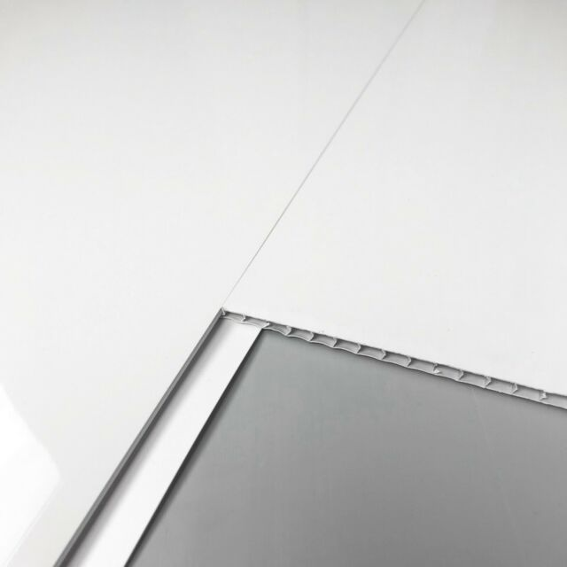12 Pack Gloss White Chrome Bathroom Shower Ceiling Panels Wet Wall PVC Cladding By DBS