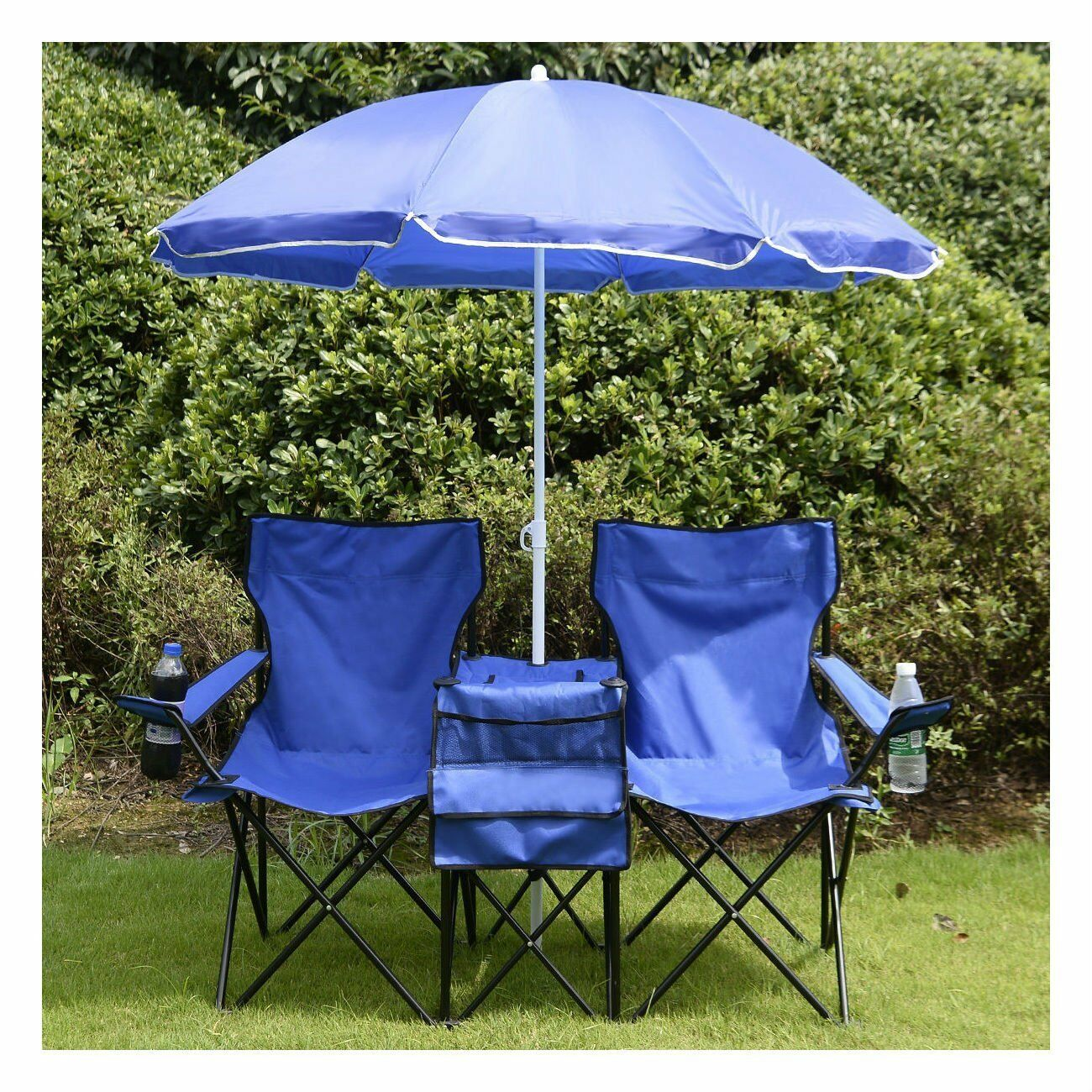 Beach Camping Chair Picnic Double Folding Chair w Umbrella Table Cooler Fold Up