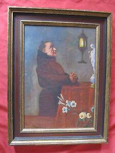 Bonita-oleo-1930-para-restaurar-034-el-monje-en-oracion-034