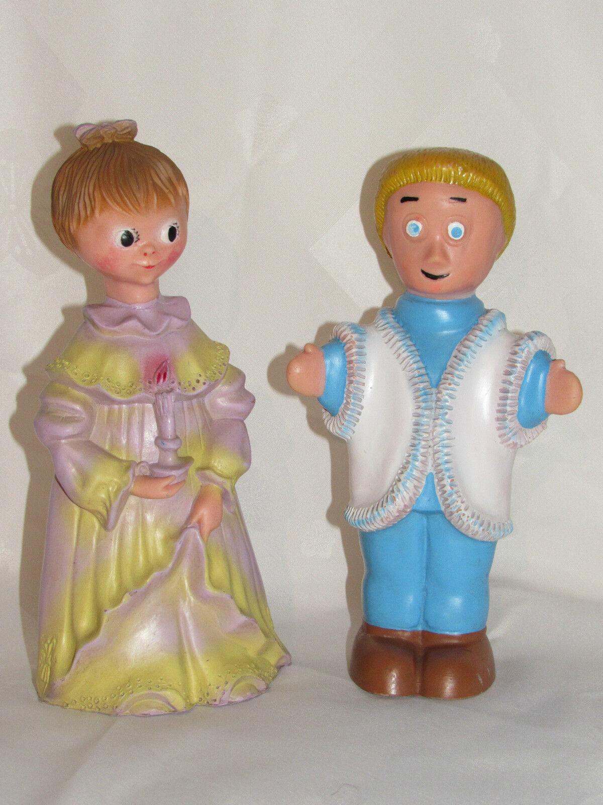 01c9 los 2 anciennes figuren vintage - jouet pouet pouet dessin anime ortf 1950
