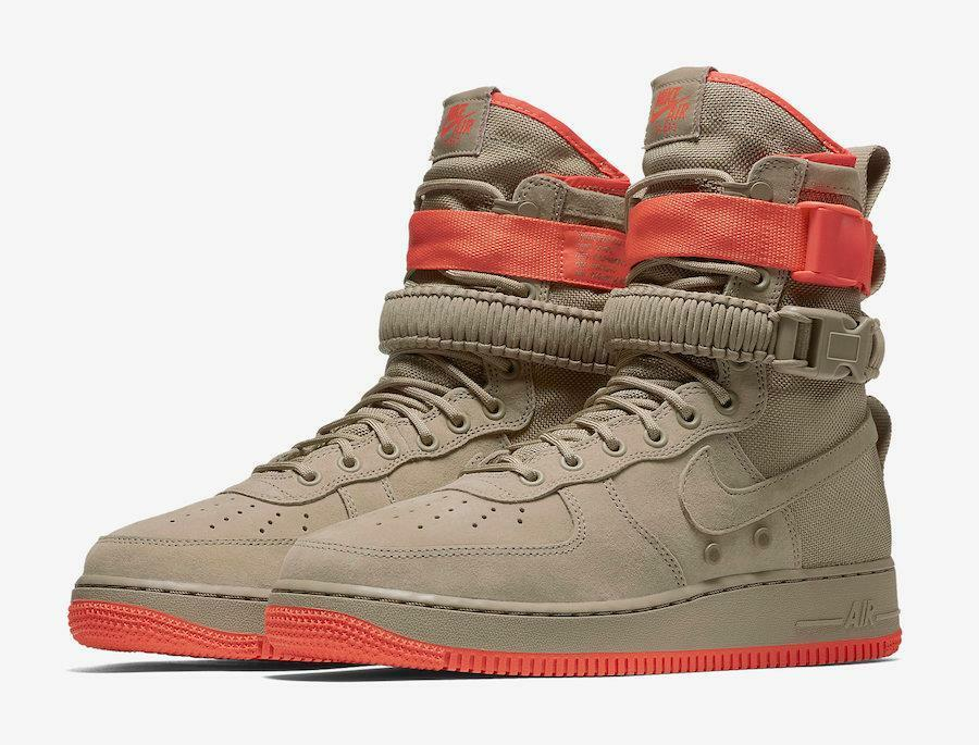 NIKE SF AF1 864024 205 KHAKI TAN/RUSH CORAL PINK -SPECIAL FIELD AIR FORCE-STRAPS Seasonal clearance sale