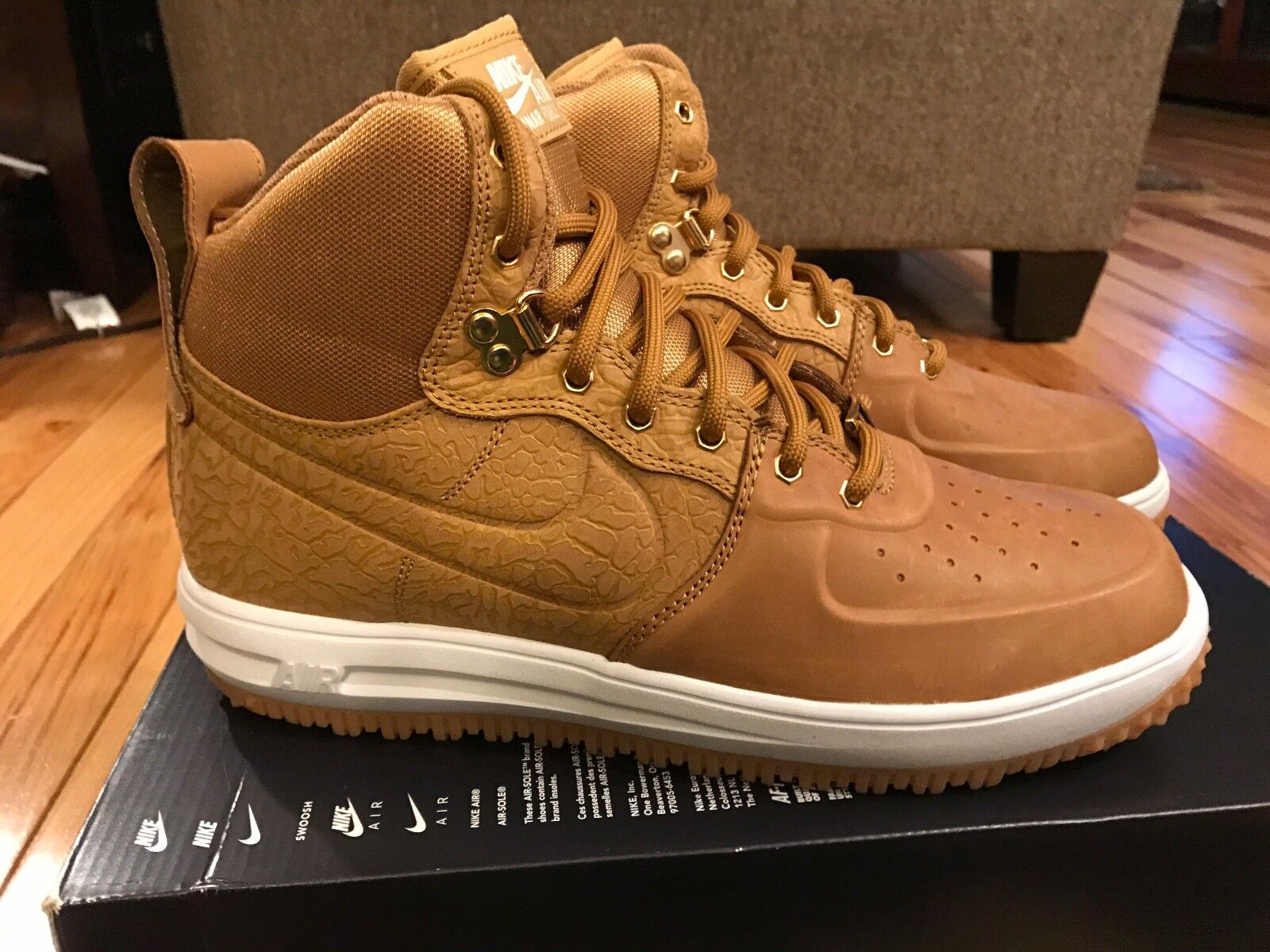 Nike Lunar Force 1 Sneakerboot Wheat Gold White 654481-700 Size 8