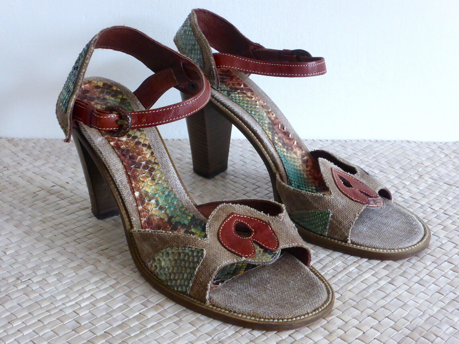Vic Matié-Sandali heel-sandals, RETTILE OTTICA Iuta pelle multicolour tg. 41