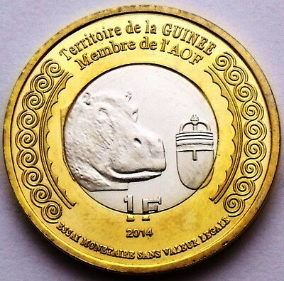 GUINEA GUINEE 25 000 FRANCS = 5 EUROS 2013 ANIMAL SNAIL BIMETALLIC UNC