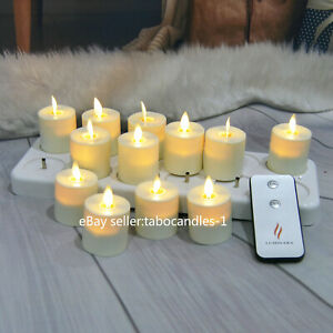Details About Luminara Rechargeable Tea Lights Moving Flicker Flameless Led Candles With Timer