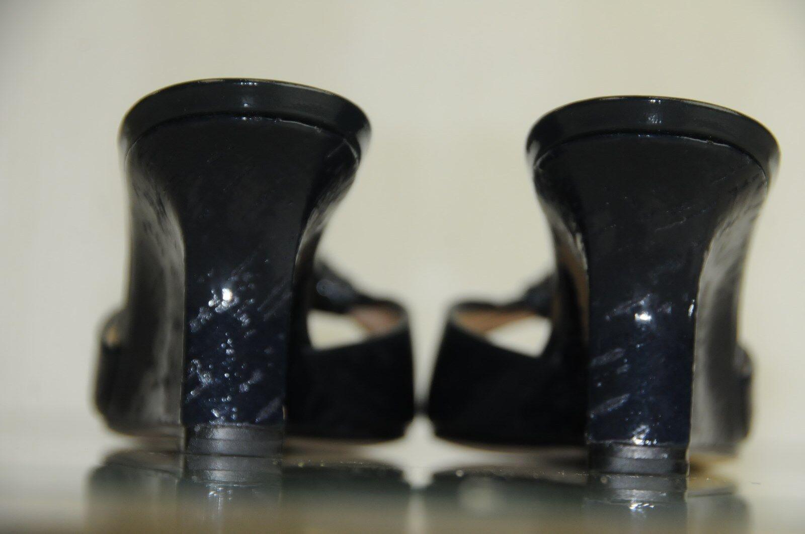 Neuf Manolo Blahnik Laros Bleu Marine Marine Marine Sandales Compensées en Liège Glissière 47c3af