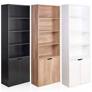6-niveaux-bibliotheque-avec-2-portes-de-placard-armoire-de-stockage-rayonnage-Affichage-bois-etagere