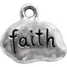 """""""Faith"""" word tag pewter charm"""