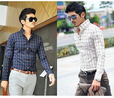 6158 New Mens Dark Blue Luxury Casual Plaids Slim Fit Stylish Dress Shirts XS-XL