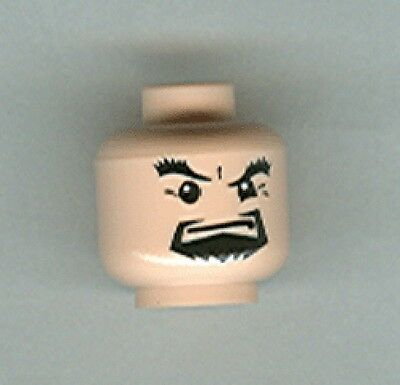 Male Black Goatee /& Thick Eyebrows Minifig Head LEGO 4768 Light Flesh