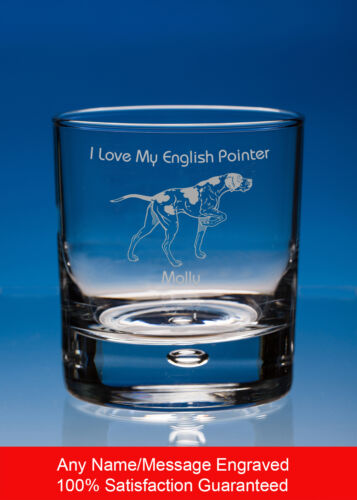 English Pointer Whisky Glass Dog Gift Personalised Engraved Dog Whiskey Tumbler