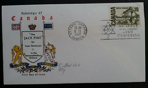 1967 Canada Paintings-The Jack Pine FDC ties 10c stamp cancelled Ottawa