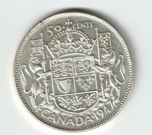 CANADA-1947-ML-50-CENTS-HALF-DOLLAR-KING-GEORGE-VI-CANADIAN-800-SILVER-COIN