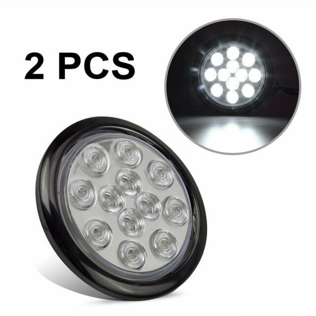 2pcs 4 Inch 12led Round White Tail Light Backup Reverse