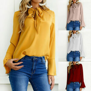 Womens-Long-Sleeve-Tie-Neck-Loose-Tops-T-Shirt-OL-Plain-Casual-Office-Blouse-New