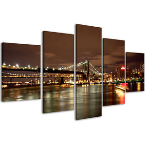 Quadri-Moderni-200-x-90-cm-Stampe-su-Tela-Canvas-XXL-Quadro-New-York-Bridge-084
