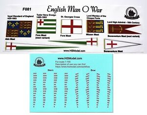 Revell-English-Man-O-039-War-Flags-and-Draft-scales-for-model-1-96-FR
