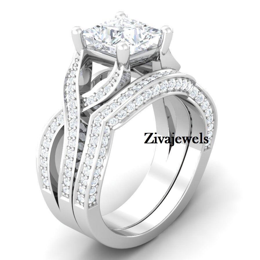 Certified 3.60 Ct White Princess cut Wedding Set Engagement Ring 14K White gold