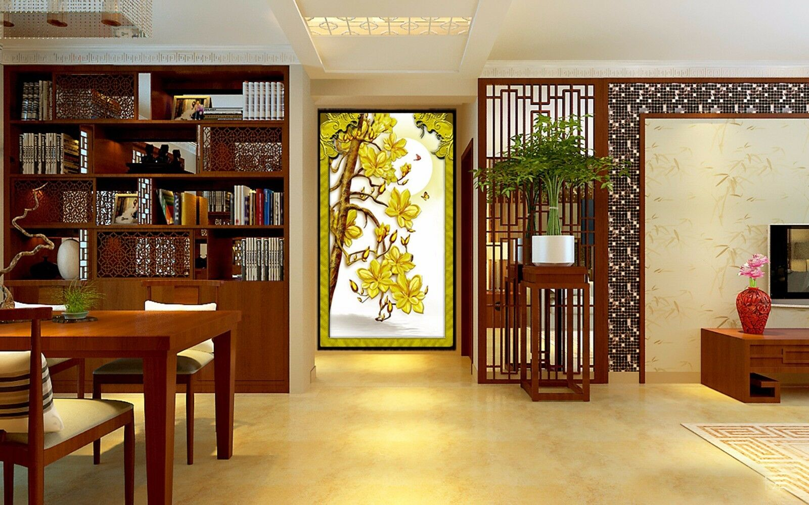 3D Golden flowers 3253 Wall Paper Wall Print Decal Wall Indoor Murals Wall US