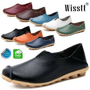Women-039-s-Slip-On-Leather-Flat-Shoes-Comfy-Soft-Ladies-Moccasin-Loafers-Round-Toe
