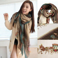 Retro Womens Lady Girls Soft Long Carriage Scarf Large Wrap Shawl Scarves Cape