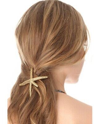 New Fashion Design Nice Golden Metal Big Starfish Hair Clip Hairpin Headdress