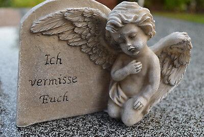 Grabengel Engel Schutzengel Grabschmuck Deko Engelfigur mit Spruch steingrau NEU