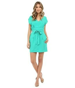 Adelyn-Rae-Women-039-s-Shirt-Tie-Dress-V-Front-Key-Hole-Back-Pleated-Pockets-Medium