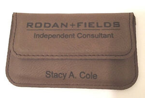 Business-Card-Case-Leatherette-Holder-Soft-Sided-Dark-Brown-Personalized-Free