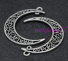 5PCS Wholesale W09 Pendants Hollow Out Moon Antique  Tone Findings For Necklace